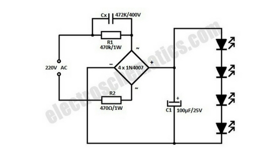 Ac Powered 220v Led Light Circuit Gallery Of Electronic