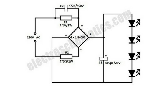 ac powered 220v led light circuit