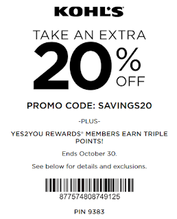 Kohls coupon 20% any order oct 2016