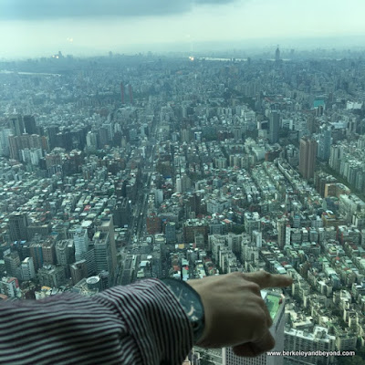 city of Taipei as seen from Taipei 101 interior observation deck