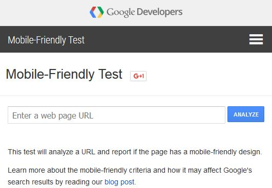 mobile friendly test - google webmaster tools