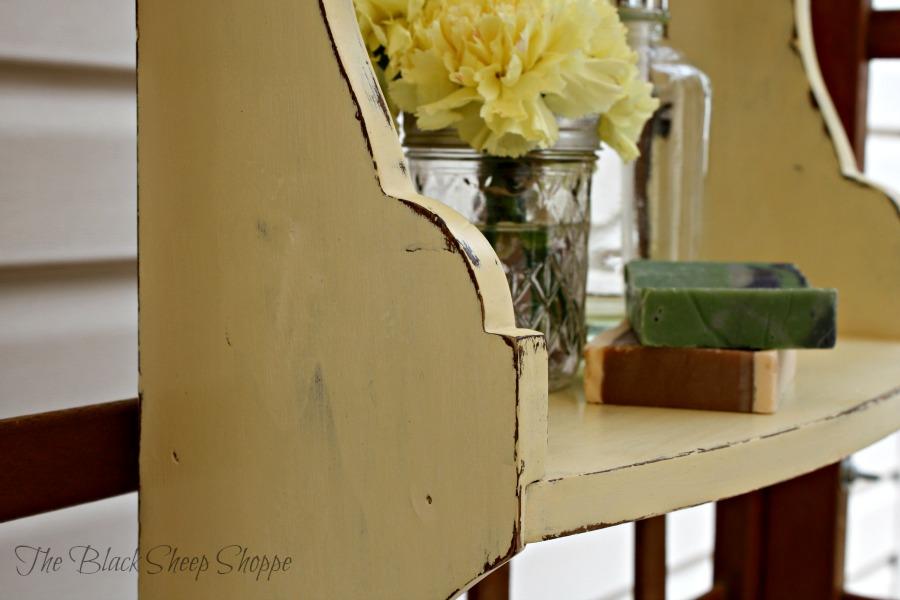 Shelf painted in Cream chalk paint.