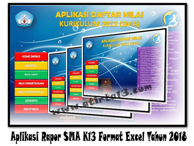 Berikut Aplikasi Rapor SMA K13 Format Excel Tahun 2018 Format Excel