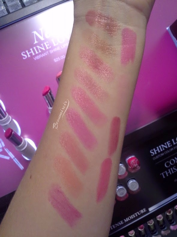 Lancome Shine Lover Vibrant Shine Lipstick swatches all shades