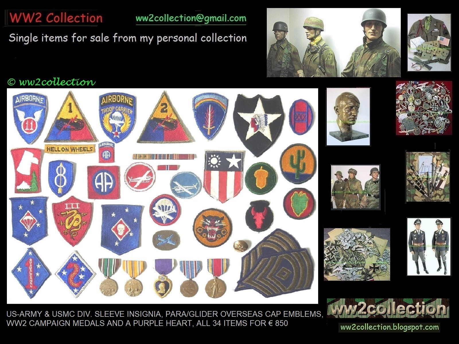 WW2 Collection Price List of my Private Collection Liquidation
