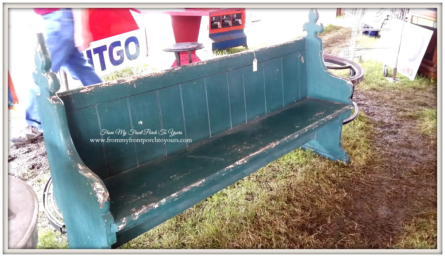 Round Top-Antique Church Pew- From My Front Porch To Yours