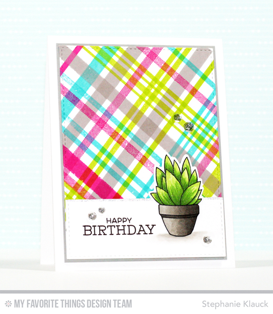 Handmade card from Stephanie Klauck featuring Laina Lamb Design Sweet Succulents stamp set and Die-namics, Plaid Background Builder Stamp Set, and Gumball Greetings stamp set #mftstamps