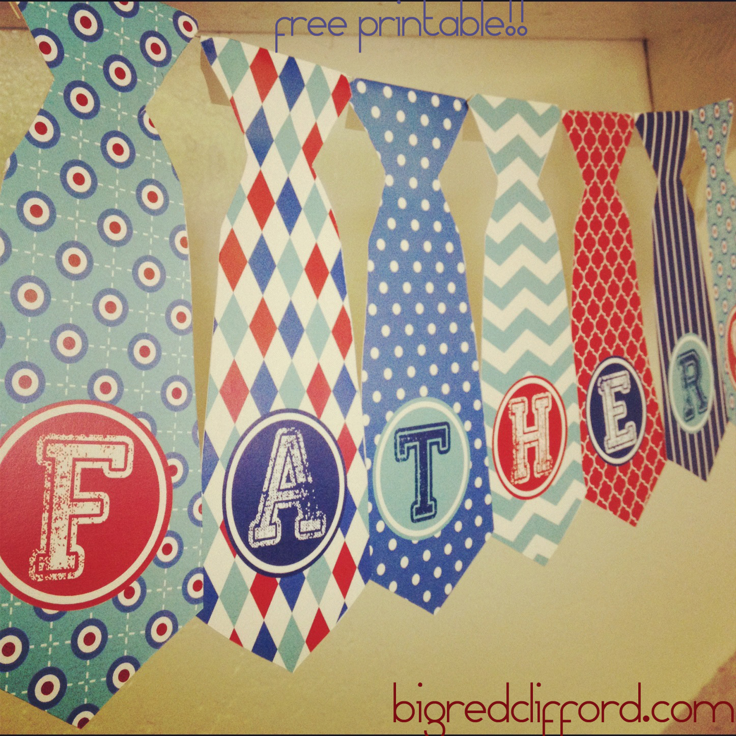 photograph about Happy Father's Day Banner Printable known as a cost-free printable for by yourself: the tie banner Meg Clifford