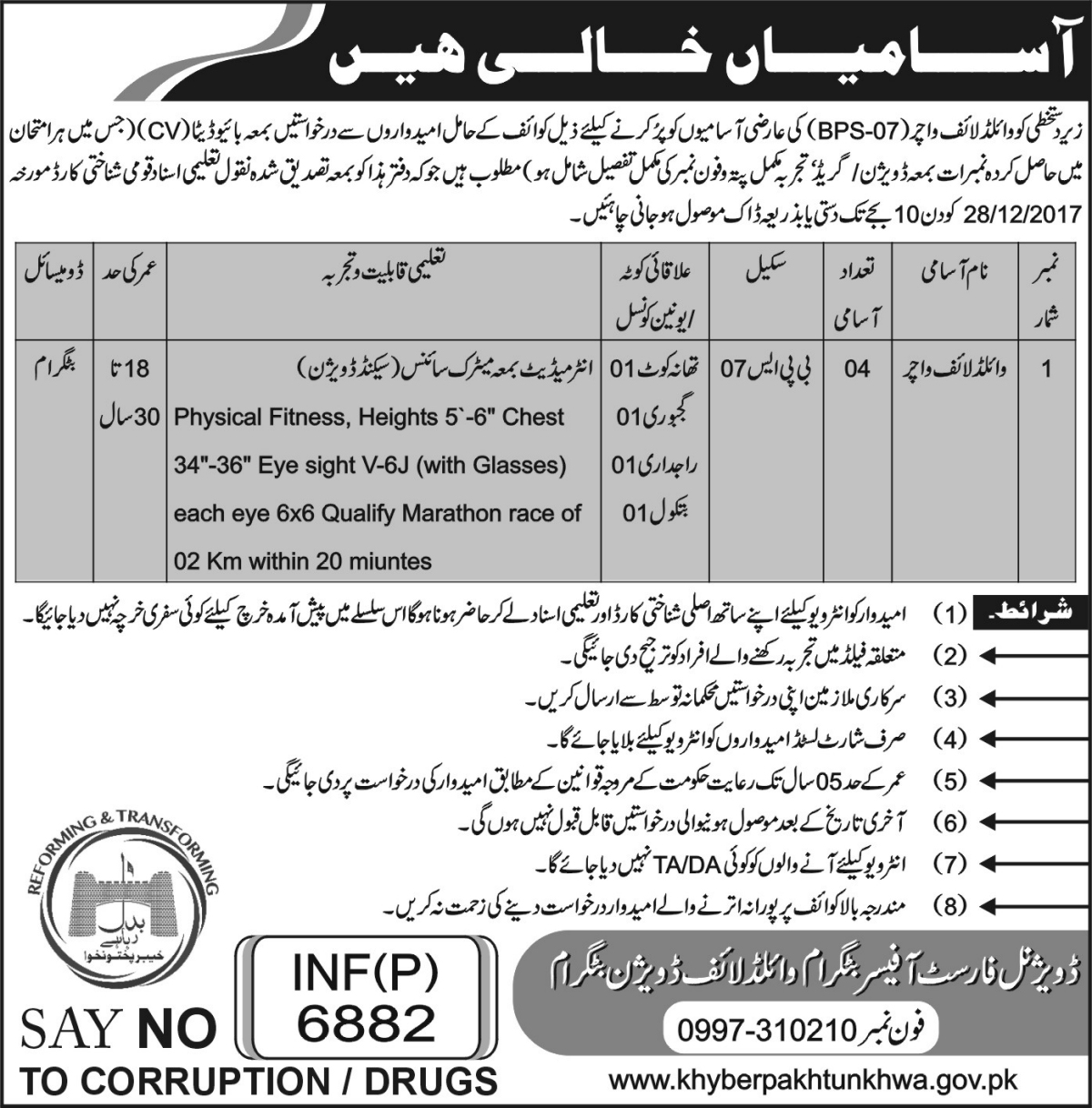 Jobs In Forest Department Govt KPK Dec 2017