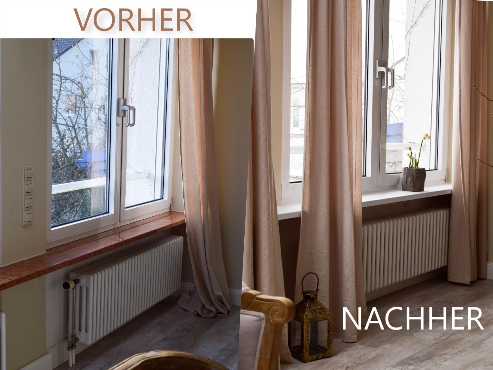 Vorher Nachher. Renovierung von Fenstersims mit selbstklebender Folie. Einfach selbermachen renovieren Marmor Folie Klebefolie. Aus Alt mach NEU
