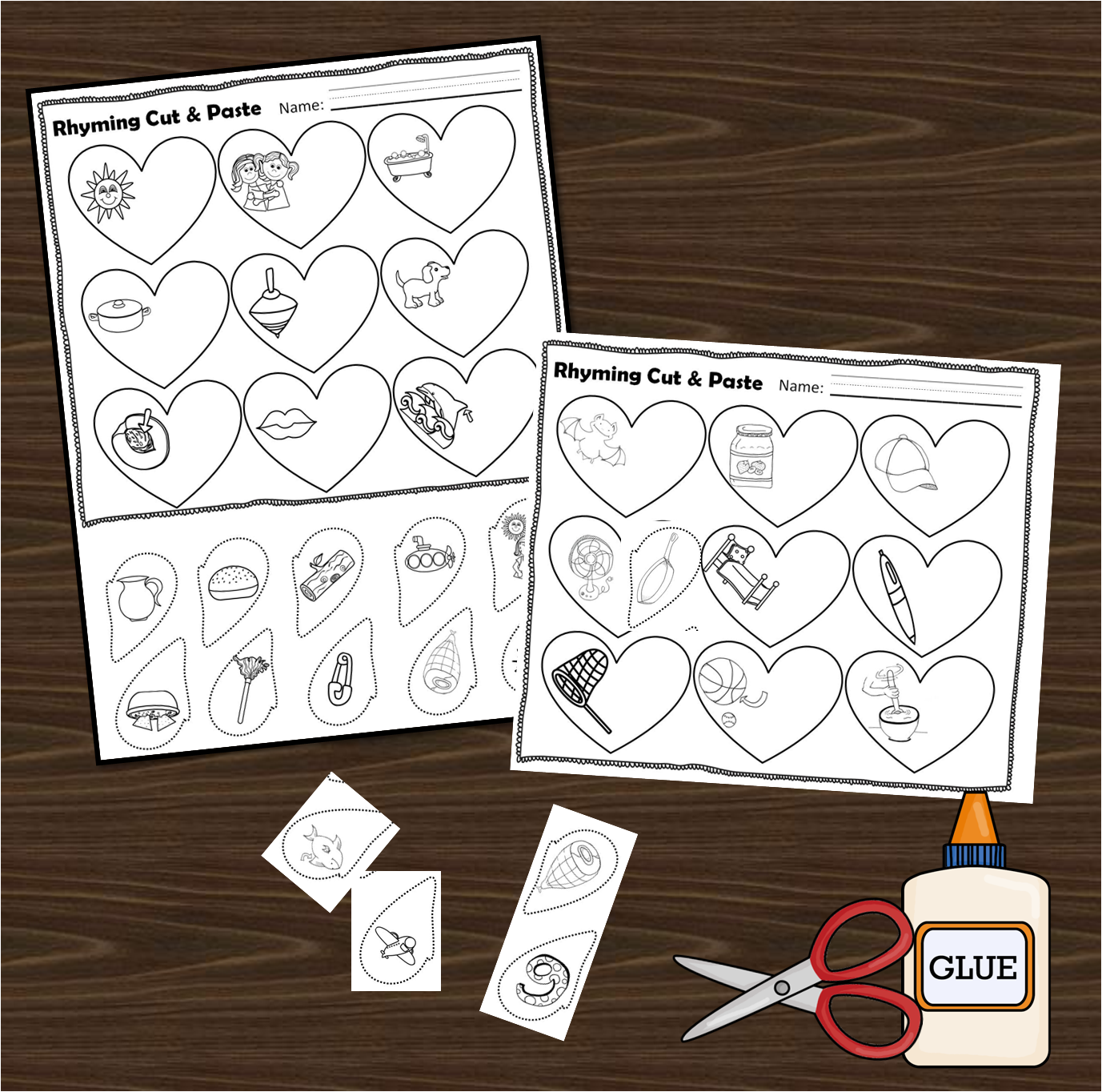 Valentines Day Rhyming Cut Paste – Rhyming Cut and Paste Worksheets for Kindergarten