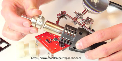 Choose the best hot air Rework Station nozzle to do the soldering work. the picture show you process to attach the nozzle on the top of the rework station handle