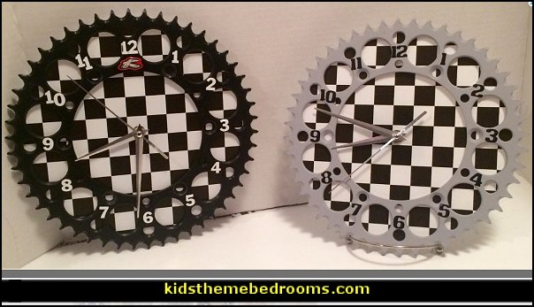 Dirt bike sprocket clocks  Motorcross Dirt Bike Motocross Racing, Boys Bedroom Decor  Motocross bedroom ideas - Dirt bike room decor - Dirt bike wall art - Motocross bedding - flame theme decorating ideas - dirt bike room stuff - dirt bike themed rooms - motocross room decor -
