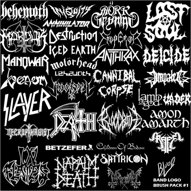 Logos de bandas metaleras en pinceles para Photoshop