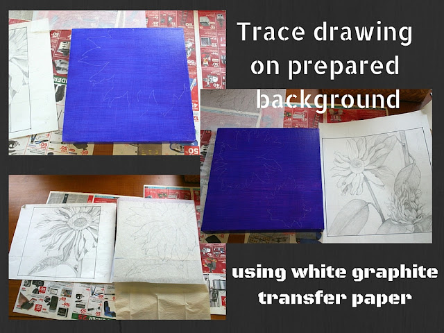 Trace drawing on prepared background.