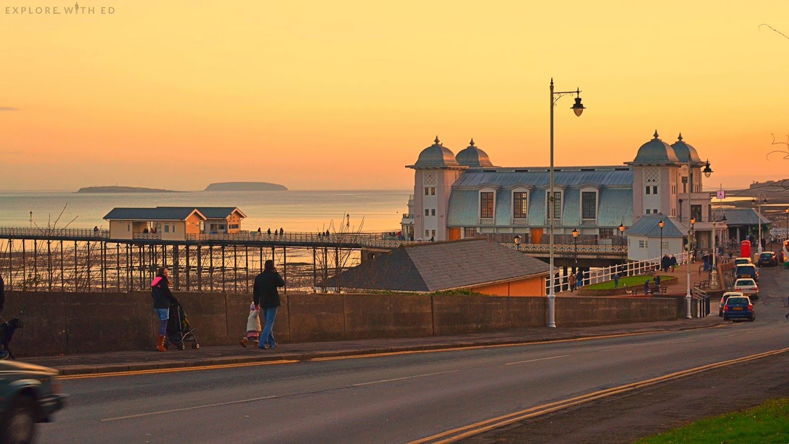 Golden sky and Penarth Pier
