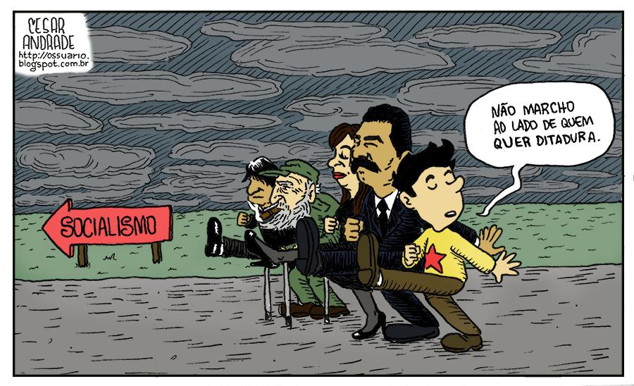Charge sobre protestos - por Cesar Andrade