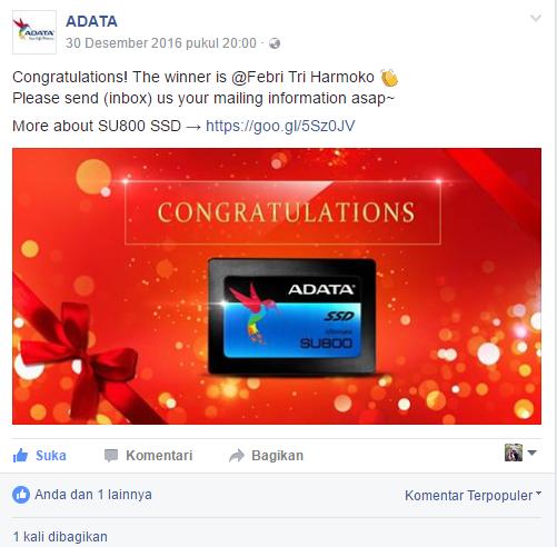 Dapat Hadiah Akhir Tahun Dari ADATA - SSD SU800 128GB