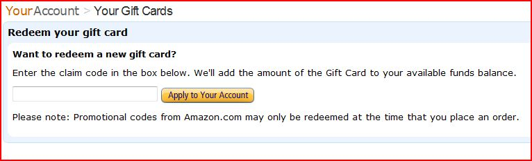 how to enter amazon gift card