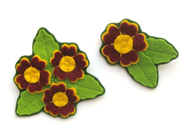 New in My Shop: Felt Primroses and Auriculas Tutorial