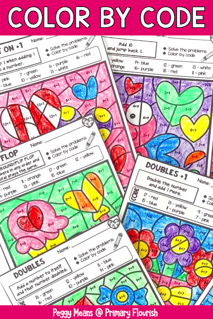 Need some no prep seat work for February days?  These Valentine color-by-code worksheet pages will give your 1st, 2nd, 3rd grade, and home school students that essential practice they need for their addition facts. Plus, it's fun and engaging! Each page focuses on a different mental math strategy, which makes differentiation a snap! It's great for independent practice, math centers or stations, review, homework, morning work, and RTI pull out. {first, second, third}