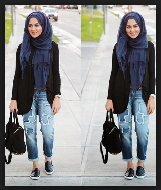 Style berhijab dengan celana jeans