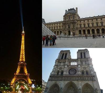 Imagens de Paris, a cidade luz. Torre Eiffel, Museu do Louvre e Catedral de Notre-Dame