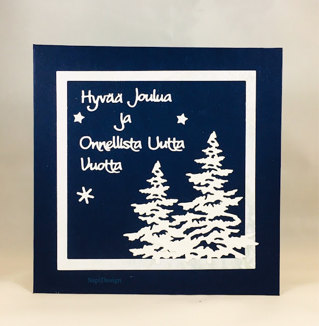 die cutting Christmas card frame Christmastree SapiDesign