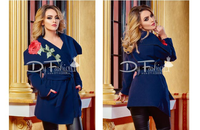 Palton femei de toamna cu guler mare bleumarin ieftin