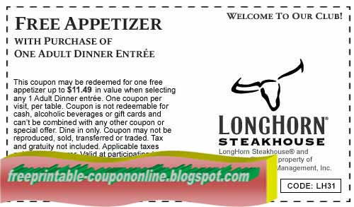 photograph about Longhorn Coupons Printable named Printable Coupon codes 2019: Longhorn Steakhouse Discount coupons
