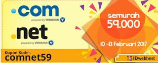 Promo domain murah .com .net  february 2017 59000