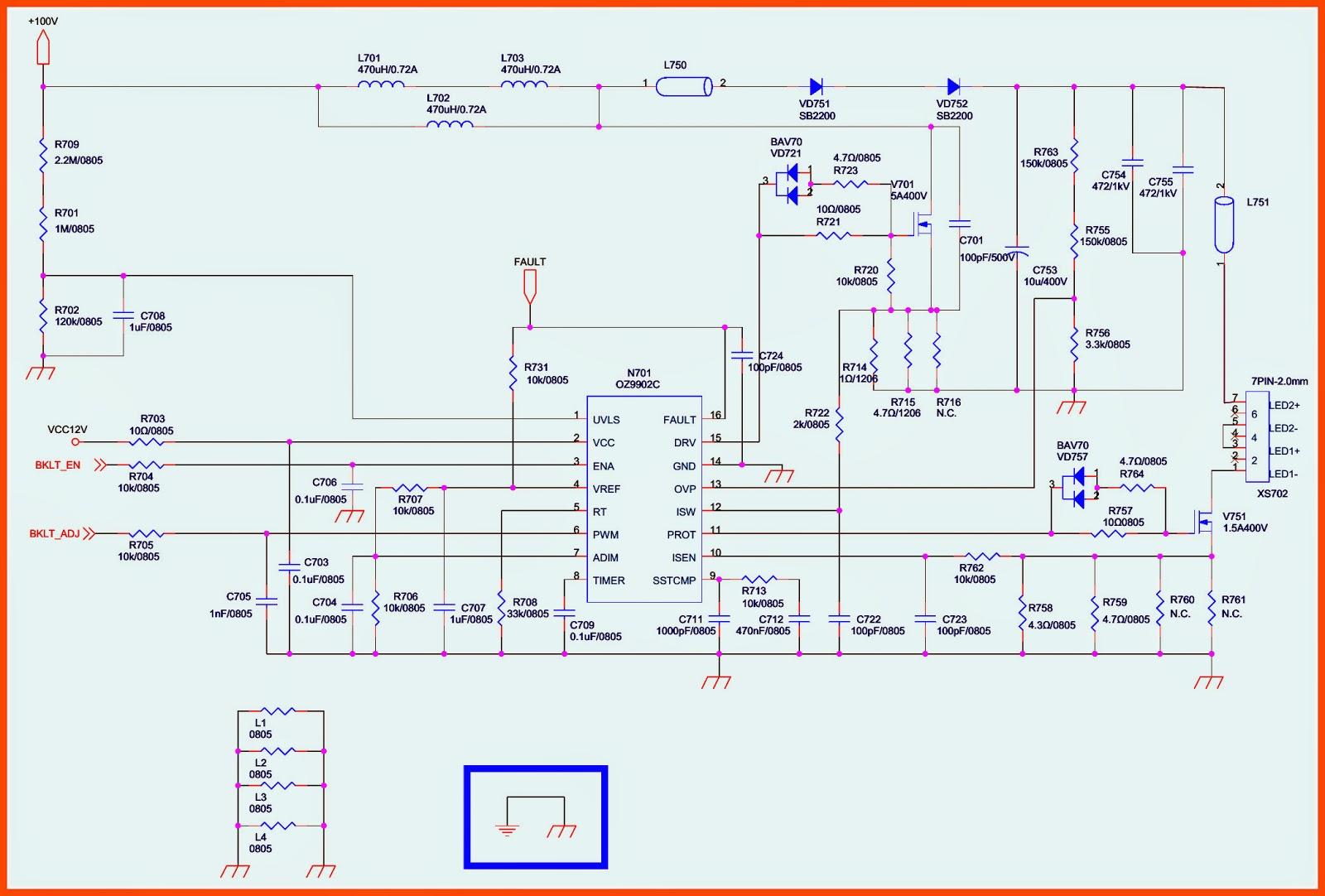 Led Tv Inverter Board Circuit Diagram - Wiring Diagram Sys