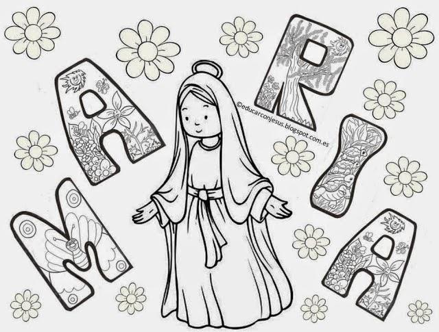 √ Virgen Maria Animada Para Colorear | Imgenes del Da de la