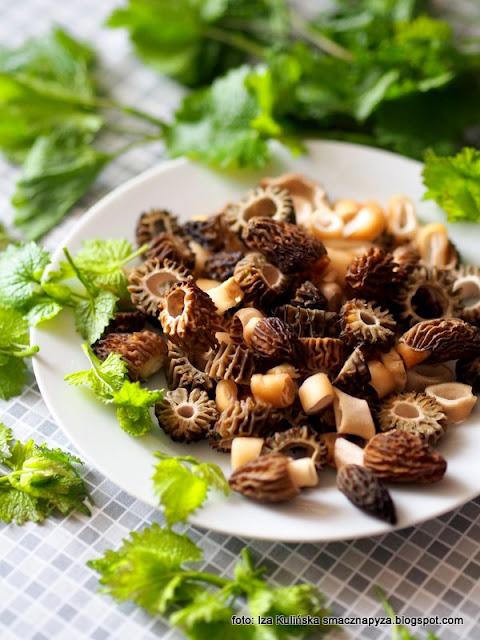 smardze na grzankach , smardz stożkowaty , z grzybami , przekąski , grzyby , grzaneczki , kanapki , czosnaczek pospolity , wiosna , domowe jedzenie ,