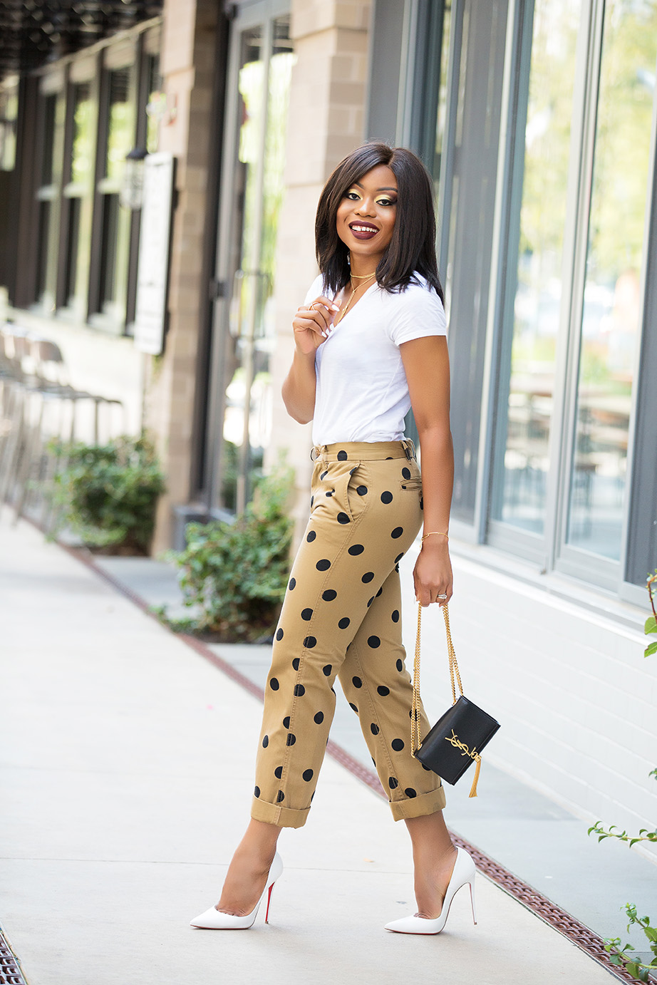 polka dot chino pants, www.jadore-fashion.com