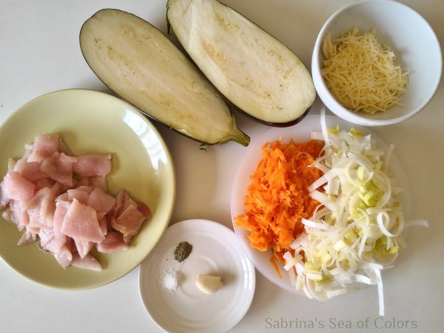 Ingredientes para unas Berenjenas rellenas gratinadas