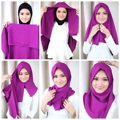 Tutorial jilbab segi empat sederhana