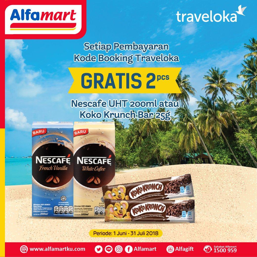 Alfamart - Bayar Traveloka Dapat Gratis 2 Pcs Nescafe UHT Atau Koko Krunch