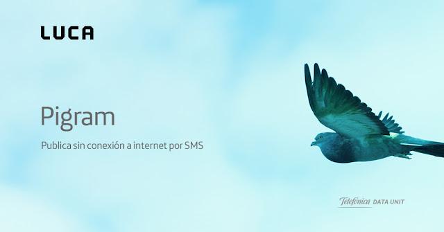 Figura 1: Pigram, la nueva aplicación que publica por SMS cuando no tienes conexión a Internet.