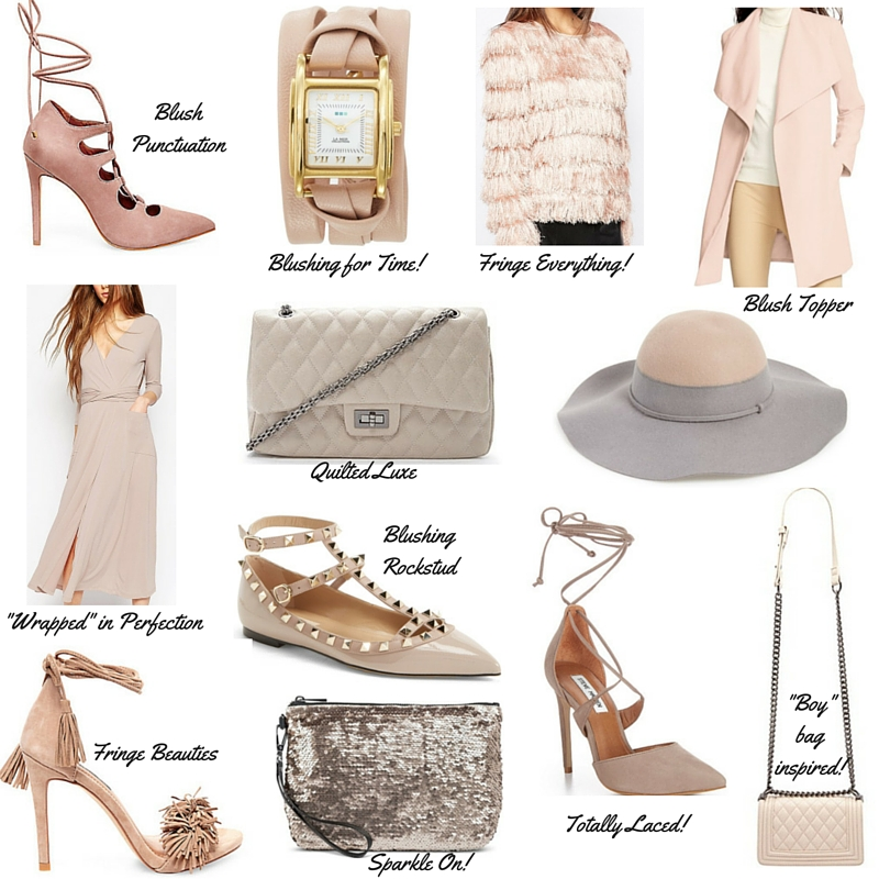 chanel style bag, chanel look for less, fringe sweater, steve madden raela, wrap dress, valentino rockstud, blush pink, how to wear blush