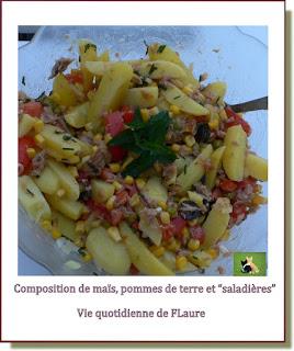 """Vie quotidienne de FLaure : Composition avec maïs, pommes de terre et """"saladières"""""""