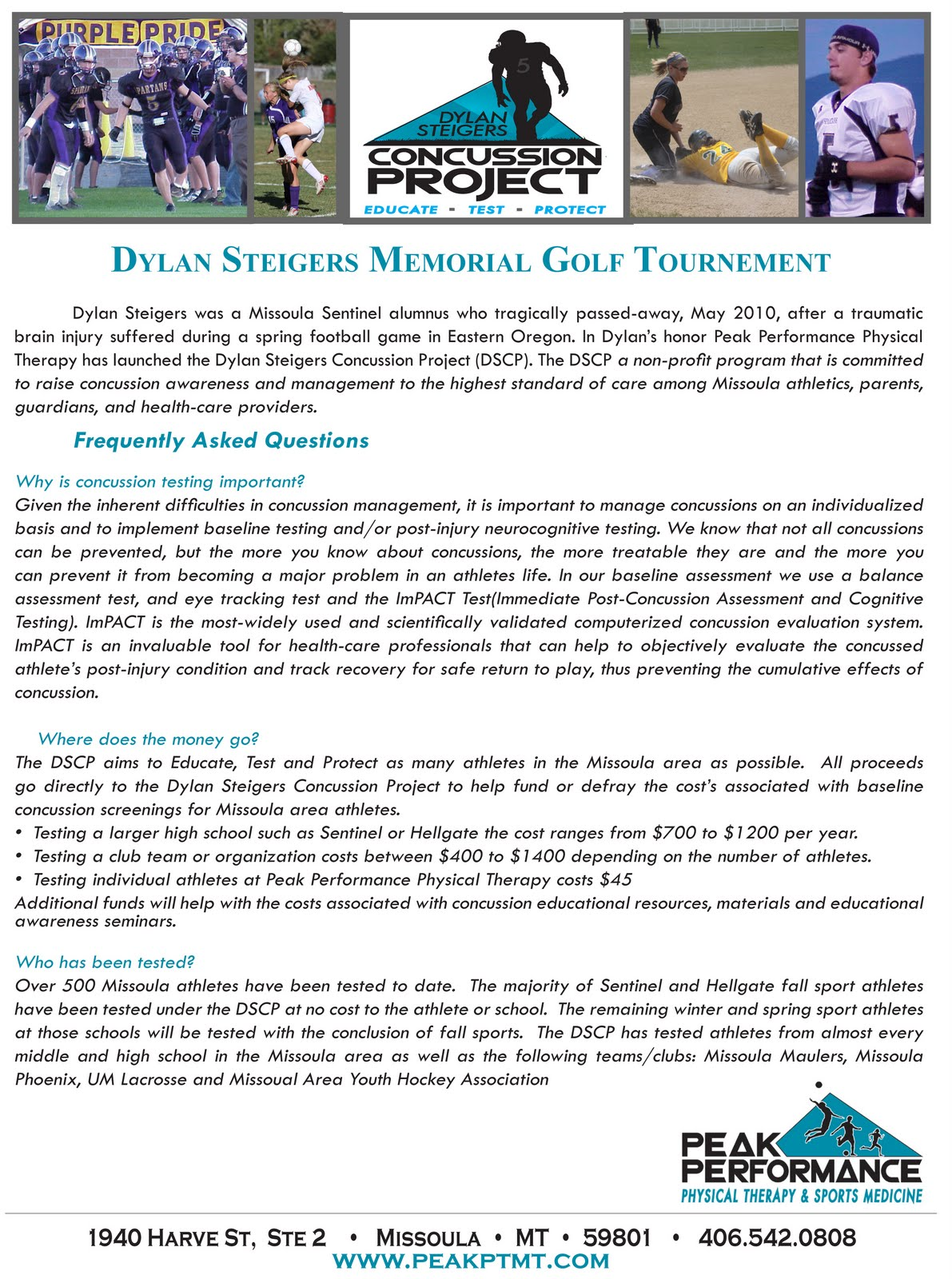 Dylan Steigers Memorial Golf Tournament All Proceeds Benefit The Dylan Steigers Concussion Project