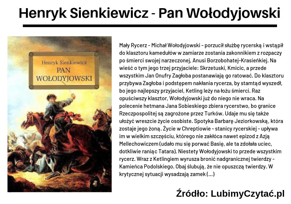 Henryk Sienkiewicz, Pan Wołodyjowski, TOP 10, Marzenie Literackie