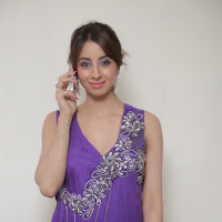 Sparkling Sanjana latest photos in sleevless purple long dress