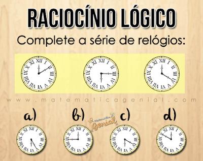 Desafio de raciocínio lógico: Complete a série de relógios