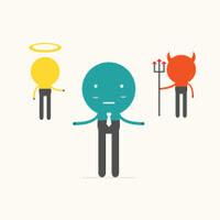 Informasi Cinta: Ilustrasi malaikat, setan dan manusia