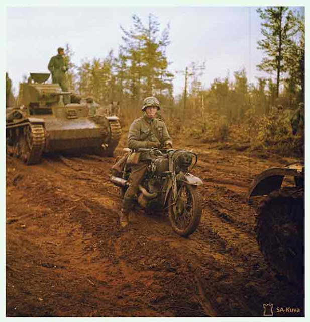 Finnish troops and T-26E tanks in the Aunus Isthmus, Finland, 5 September 1941 worldwartwo.filminspector.com