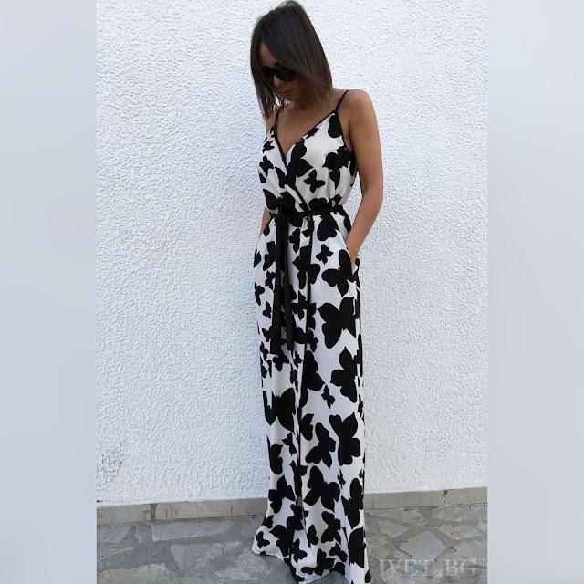 Αμάνικο μάξι άσπρο με μαύρο φόρεμα BUTTERFLY