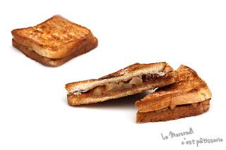 Croque-monsieur poire et caramel au beurre salé