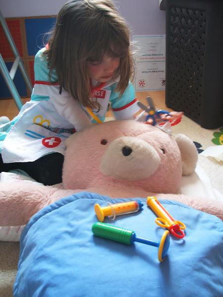 mending a teddy bear